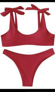Red tie bikini