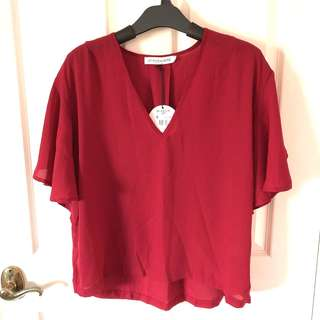 Red blouse with flared sleeves BNWT