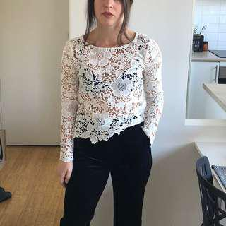 White thick lace top - Small