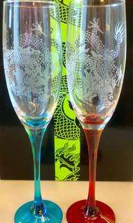 全新上海灘 龍 玻璃香檳酒杯 連盒 100% brand new Shanghai Tang Champagne Wine Glass