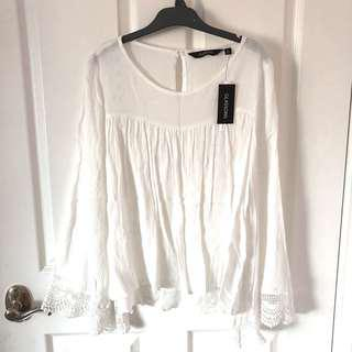 White top with bell sleeves BNWT
