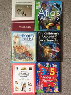 Children books, encyclopedia, picture dictionary