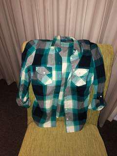 Terranova Green Plaid Shirt (Size S)