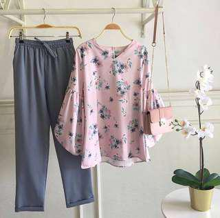 Floral doll-sleeved top