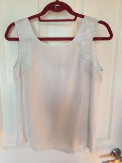 Size 8 Forever New White Silver Top