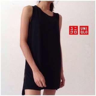 Uniqlo Shift Dress Mini Basic Black Tank Sleeveless
