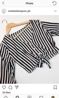 Black and white stripes button down top (BRAND NEW)