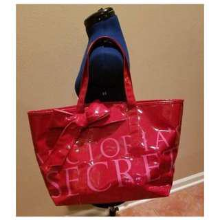 Victoria's Secret Large Tote Bag Red & Pink Shiny Vinyl w/Striped Lining