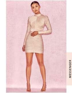 House of CB 'Navaz' beige bandage dress