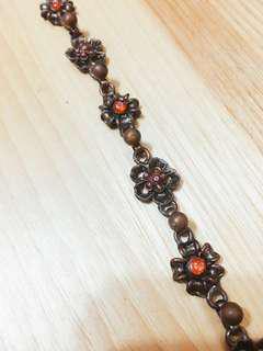 🚚 超推情人節禮物 氣質 設計感 仿舊 古銅色 復古 花 手鍊