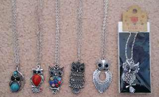 6 Owl Necklaces