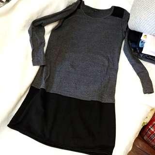 🌟 新淨 ! 灰黑色 拼接 斯文 長身 連身裙裙