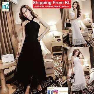 (Free Delivery) Woman Dress Evening Dress Lace Dress Dinner Dress Black Dress Elegant Sexy White