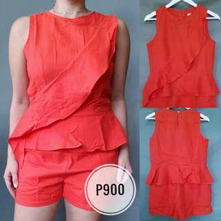 ONHAND: Orange Linen Playsuit (Medium)