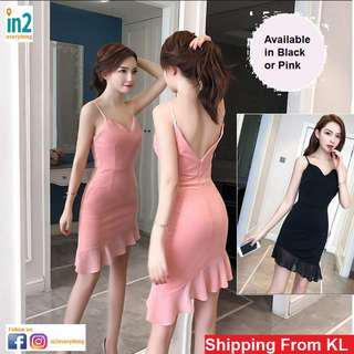 (Free Delivery) Woman Dress Evening Dress Chiffon Dinner Dress Midi Dress Party Mermaid Wear