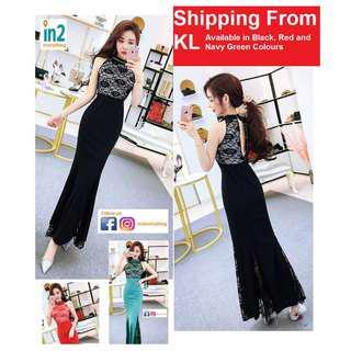(Free Shipping) Woman Dress Dinner Dress Lace Dress Long Evening Maxi Elegant Off Shoulder Sexy