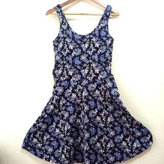 Terranova Navy Blue Printed Dress