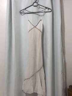 Mango Elegant white cotton linen dress