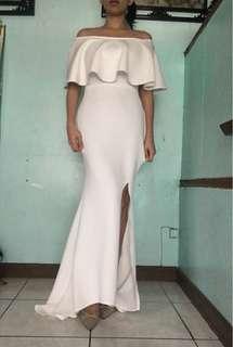 White dress gown mermaid slit frills offshoulder