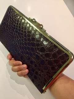 Vintage Faux Crocodile Leather Clutch