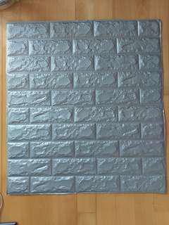 銀色 3D 立體磚紋牆紙
