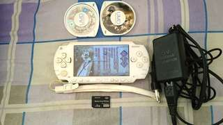 PSP 1000 Model~ 80% White Color. Includes 4GB CARD ( 2 ISO GAMES!!!), 2 PSP UMD GAMES!!! & Original Charger For PSP!!!. 100% WORKING PSP!!!. 100% NO PROBLEM!!!. 75% CONDITION OF THE PSP!!! ** PLEASE REPLY IN ENGLISH!!! 🤗 **