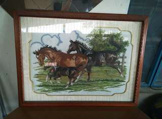4 Horses Cross-stitched frame display