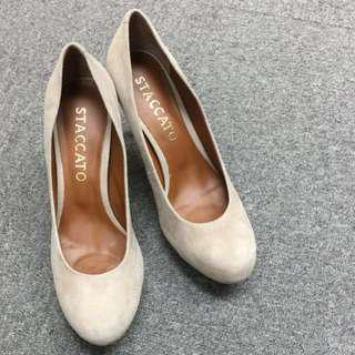 Staccato Velvet Beige High Heel Shoes