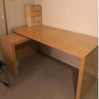 IKEA MALM desk in white stained oak veneer with pull out panel
