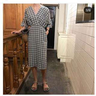 🚚 格紋縮腰洋裝