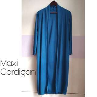 Cerulean Ribbed Maxi Cardigan