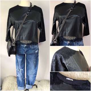 ZARA leather+lace top