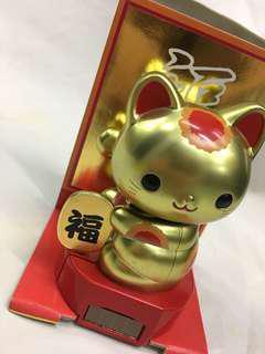 [日本] 太陽能 招財貓 擺設 搖手 搖頭