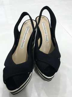 4 inch Black Wedges Size 36