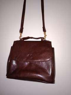 Vintage Brown Cross-body Buckle Bag