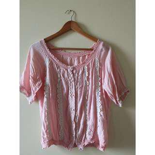 Off-Shoulder Boho Pink Blouse