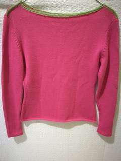 Knitted Pink Boat Neck Semi Crop Long-sleeves