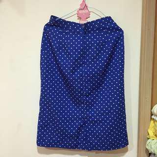 🚚 古著 深藍點點窄裙