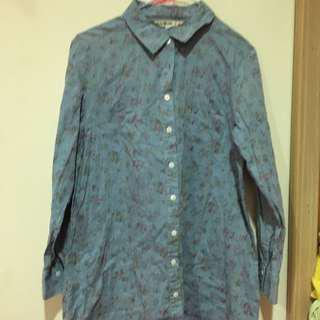 🚚 古著 碎花藍色襯衫
