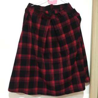 🚚 古著 黑紅格子裙