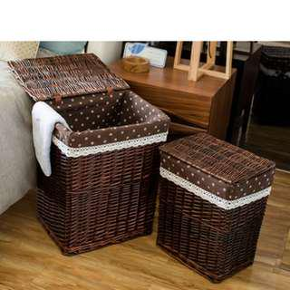 [Last set] Country-style Rattan Laundry Basket
