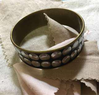 Black Gold Silver Stud Bangle Bracelet