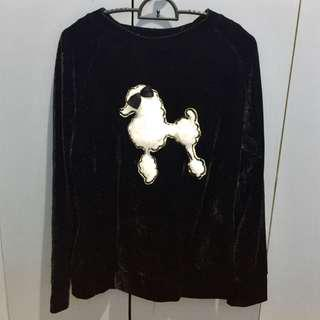 Black velvet poodle sweater