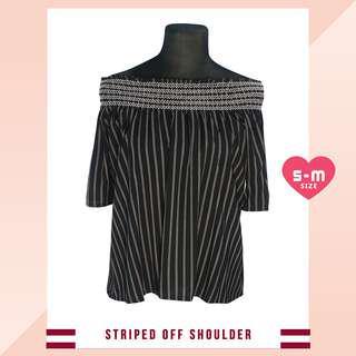 ❤ SALE! Black Stripes Off Shoulder Blouse