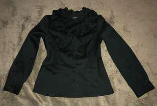 ESSENXA BLACK RUFFLED LONG-SLEEVED POLO