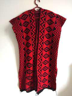 (S - L) Knitted Red Tribal Cardigan/ Vest with split