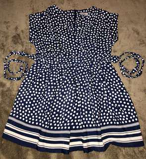 DOROTHY PERKINS NAVY BLUE POLKA DRESS
