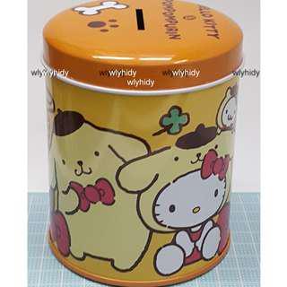 Sanrio Hello Kitty X Pompompurin Tin Coin Bank 吉蒂貓 x 布丁狗儲金箱