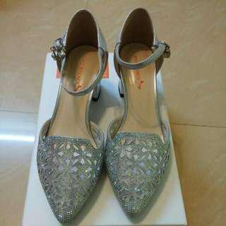 奶奶/ 媽咪 銀色晚宴鞋