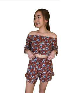 Floral Off shoulder top and shorts terno